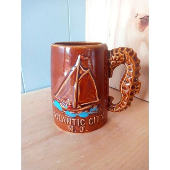 Vintage Atlantic City New Jersey Mug Sea Horse